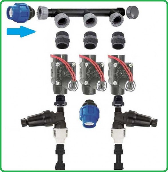 Ventilbox nicht vormontiert mit 3 Hunter Ventilen und 2 Druckminderern
