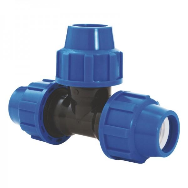 PP Klemm-Verbinder (T-Stück) für die Verbindung von DA 32 PE-Rohren
